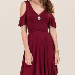 Francesca's Uma Cold Shoulder Wrap Dress